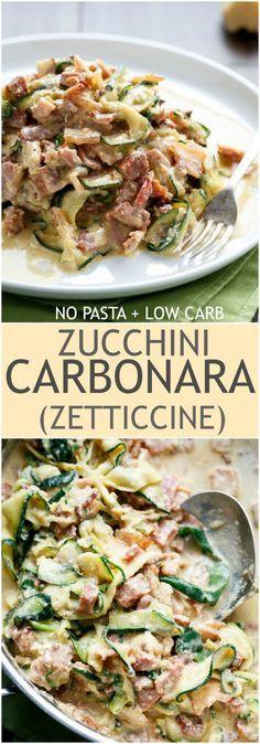 No Pasta + Low Carb Zucchini (Zettuccine) Carbonara!   http://cafedelites.com