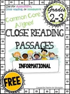 RIGOROUS COMMON CORE ALIGNED  FREE close reading passage!!   This is perfect for class-wide & small group close reading, assessments, guided reading groups, or homework.