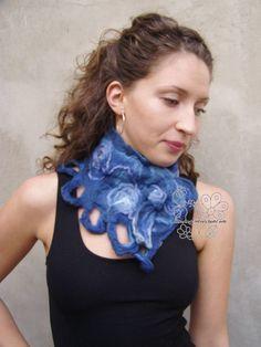 Excited to share the latest addition to my #etsy shop: Blue felt neckwarmer, Felt scarf, Blue scarf, merino scarf, Fairy, Boho style, boho fashion, boho chic, Fringes, Fiber art, feminine http://etsy.me/2EiRs4s #accessories #scarf #blue #birthday #christmas #purple #bl