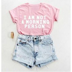 I Am Not a Morning Person Light Pink T-Shirt All Sizes (33 BAM) ❤ liked on Polyvore featuring tops, t-shirts, shirts, silver, women's clothing, loose shirts, crop top, checkered shirt, loose t shirt and light pink shirt