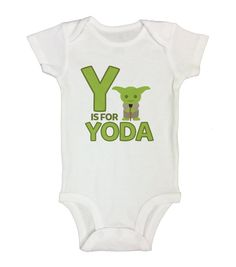 "Cute Baby Boy Onesie  "" Y is For Yoda "" - Movie Collection Onesies - Funny Kids Clothing - Star Wars Shirts - Gift for Baby - Newborn - 259"