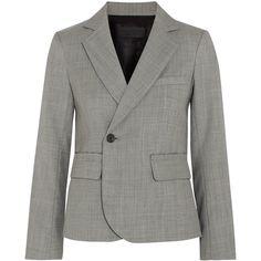 Nili Lotan Jefferson wool blazer ($1,275) ❤ liked on Polyvore featuring outerwear, jackets, blazers, grey wool blazer, grey blazer jacket, button jacket, grey jacket and grey wool jacket
