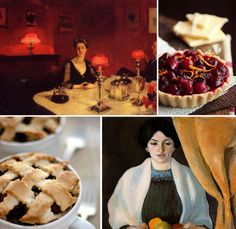 Food & Art  A Dinner Table at Night by John Singer Sargent / Cranberry White Chocolate Tarts / Roasted Apple Pie for One / Portrait with Apples by August Macke
