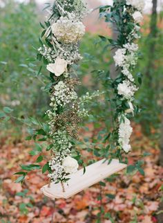 Ivory rose laced swing - Falling leaves - an Autumn wedding tale by Our Decor Events (Floral Centerpieces, Decor, Linen, Furniture & props) + Tamara Gruner Photography - via Magnolia Rouge