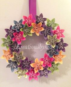 Fairy Tale - Origami Paper Flower Wreath / Wedding/ Birthday/ Table Centerpiece/ Baby Shower/ Nursery/ Bridal Shower