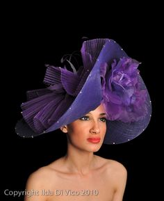 H152 Large Purple Hat with Crin & Matching Feathers. Edged in Swarvoski Crystals.Colour Match Available.