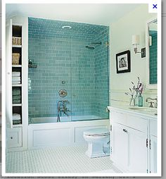 For one of the kids' bathrooms:  small storage next to the shower and all white with colored tiled only in the shower