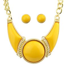 Yellow Gemstone Necklace With Earrings (8.35 BAM) ❤ liked on Polyvore featuring jewelry, necklaces, yellow necklace, gem jewelry, yellow gemstone necklace, gemstone jewellery and gemstone necklaces