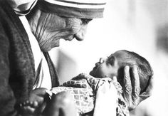 A beautiful picture of Mother Teresa, holding an armless baby at an orphanage in Calcutta. So touching. We should all aspire to love others as she did.