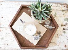 Wooden Hexagon Tray - Walnut Wood Jewelry Tray Rustic Decor Makeup Modern Handmade Geometric Tray - Large