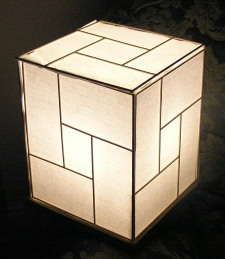 Japanese lamp from recycled materials... looks easy, and would go great in my massage room. :)