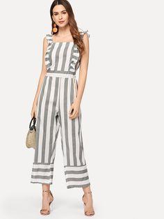 8a3e4859f420 Ruffle Trim Striped Jumpsuit Check out this Ruffle Trim Striped Jumpsuit on  SHEIN and explore more