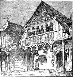 Rysunek Matejki przedstawiający jeden z drewnianych domów w Nowym Wiśniczu przed wielkim pożarem miasta 3 lipca 1863