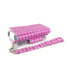 The Errand Runner - Cell Phone Wallet - Wristlet - for iPhone/Android - Andrea Dots Fuchsia/Gray