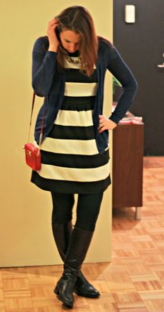 See What Katie Wears: elle black and white wide stripe dress, red Michael Kors crossbow, aquatalia boots