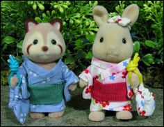 Beverly's Sylvanian Village - Special Figures - Individual Figures and Figure Sets - JP - 15th Anniversary - Cotton Kimono Summer Pair - Rac...