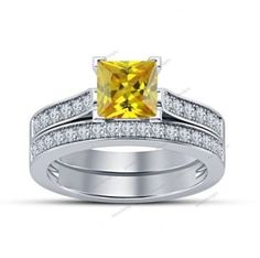 1.30 Carat Princess & Round Diamond & Sapphire 925 Silver Bridal Set V-Prong Set #aonedesigns