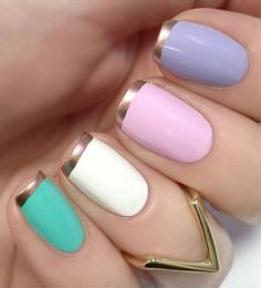 Pastel nails with rose gold French tips