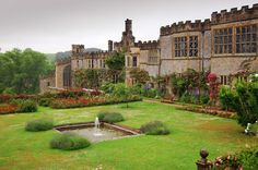 Haddon Hall garden fountain and pond