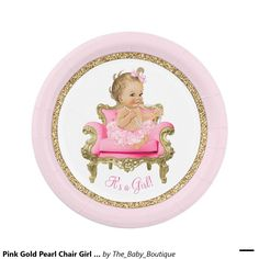 Pink Gold Pearl Chair Girl Baby Shower 7 Inch Paper Plate