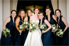 Bridal Party Portrait | Navy Rustic Elegance Proximity Hotel Wedding | Julie Livingston Photography | Leigh Pearce Weddings, Greensboro North Carolina Wedding Planner, Stylist, Coordinator