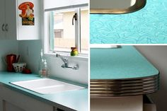 Retro kitchen remodel with boomerang Formica countertops