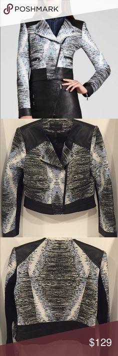 BCBG Max Azria Blue Jimmy Textured Jacket BCBG Max Azria Blue Jimmy Textured Jacket with leather trim. Beautiful jacket NWOT. Never worn. No stains, No odors, Smoke free. (No trades) BCBGMaxAzria Jackets & Coats Blazers