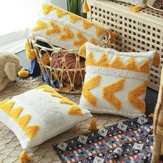 Yellow Pillow Covers, Yellow Pillows, Throw Pillows, Sofa Cushion Covers, Punch Needle Patterns, Embroidered Cushions, Handmade Pillows, Handmade Decorations, Embroidery Designs