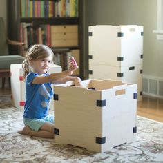 Girl playing with toys in Baltic Birch Stacking Cube Cube Storage Unit, Wood Storage Box, Toy Storage, Cube Furniture, Kids Furniture, Wood Shop Projects, Diy Projects, Loft Playroom, Kid Spaces