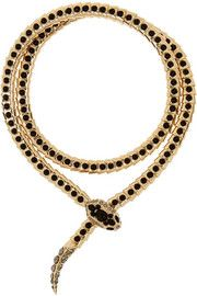 Roberto CavalliGold-tone Swarovski crystal wrap necklace