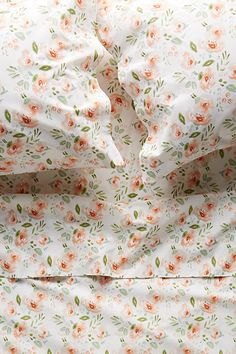 Shop Lulie Wallace floral printed home decor at Anthropologie. Find your favorite wallpaper, sheet sets, shower curtains, art prints and more. Peach Bedding, Floral Bedding, Bedding Sets, Bedding Storage, Linen Storage, White Bedding, My New Room, My Room, Bedroom Decor