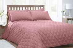 PINK QUILTED KING SIZE THROW SET WITH PILLOW SHAMS: Amazon.co.uk: Kitchen & Home - 254x254 - £40