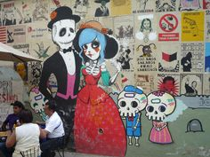 Downtown street art in a Mexico City sidewalk cafe