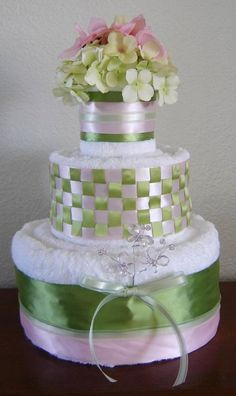 towel cake with basket weave ribbon