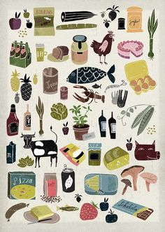 Martin Haake | Illustrators | Central Illustration Agency ( could use idea of lobster , mushrooms , garden veggies on a quilt). ( what…