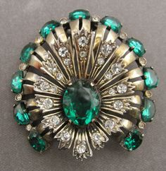 Vintage Eisenberg Original Brooch Sterling Silver Vermeil And Green Rhinestones Antique Fur Clip Pin Jewelry Circa 1940