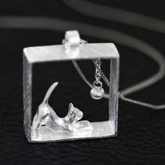 Fashion Sterling Silver Cat Pendant Chain Necklace for Women/Girl Cat Lovers