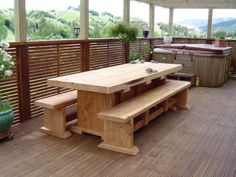 Wooden Outdoor Table, Wooden Tables, Outdoor Tables, Outdoor Decor, Outdoor Table Settings, Design Your Own, Outdoor Furniture Sets, Home Decor, Homemade Home Decor
