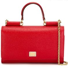 Dolce & Gabbana mini 'Von' wallet crossbody bag ($990) ❤ liked on Polyvore featuring bags, handbags, shoulder bags, red, red crossbody, red shoulder bag, crossbody purse, leather crossbody handbags and red purse