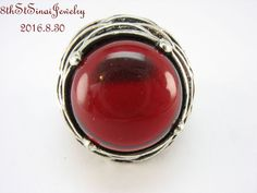 "Large Estate Sterling Silver 925 Red Glass Cabachon ""Petals"" Ring Size 7.5…"