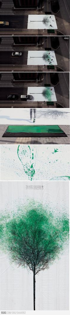 Pedestrians crossing a road in China turn footsteps into leaves. I'm sure it was an art thing, but if we designed life to be more fun, we might not have as much depression!