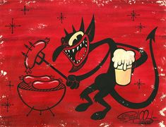 Shawn Dickinson devil with a sausage and beer 1930s Cartoons, Vintage Cartoons, Old School Cartoons, Classic Cartoons, Cartoon Kunst, Comic Kunst, Cartoon Art, Comic Art, Cartoon Characters