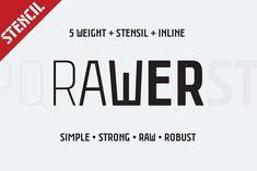 Rawer CondensedStencil by Gaslight on @creativemarket