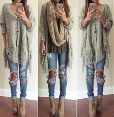 Cardigan jeans shirt fashion pullover hippie fall outfits outfit shoes sweater cute scarf girl style t The Cardigans, Casual Sweaters, Cozy Sweaters, Look Fashion, Girl Fashion, Fashion Outfits, Fashion Trends, Blonde Fashion, Jeans Fashion