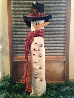 Primitive Tall Thin Winter Snowman with Rusty Bells and Safety Pins by JoysHomeTreasures on Etsy White Nail Designs, Cool Nail Designs, Cork Crafts, Fall Crafts, Christmas Snowman, Christmas Crafts, Christmas Ideas, Christmas Sale, Christmas Ornaments
