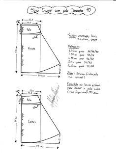 Esquema de modelagem de Saia Evasê com Pala tamanho 40.