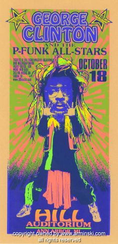 """George Clinton and the P-Funk All-stars (click image for more detail) Artist: Mark Arminski Number: MA-9633 Venue: Hill Auditorium Location: Ann Arbor, MI Concert Date: 10/18/1996 Size: 10.5"""" x 22"""" Co"""