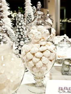 for the holidays ..candies in topiary jar...