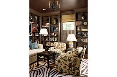 Barrie Benson - Projects - home is where the art is - Slide 2 - © Copyright Barrie Benson Interior Design. All rights reserved by Barrie Benson and/or the respective photographer. Ceiling Color, Colored Ceiling, Casual Living Rooms, Living Spaces, Chocolate Brown Walls, Cozy Den, Wall Trim, Dark Walls, Built In Shelves