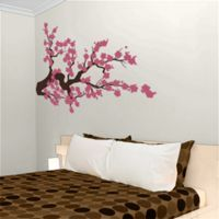 Extra Large Cherry Blossom Branch - Vinyl Wall Decals - Two Color - Your Choice of Colors